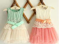 Wholesale Lady girl dress Sleeveless baby girl dress with bowknot Beauty patterns cotton with yam skirt Lovely