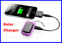 Wholesale Hot sale Mini solar charger keychain charger with LED light for mobile phone iphone FS by DHL