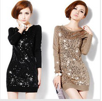 Wholesale hot sale autumn and winter women ladies fashion Slim sequined sweater Wool the new long section color Size M XXL
