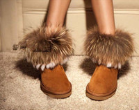 Wholesale 2012 New Autumn and Winter Short Boots Fox Fur Rabbit Fur Snow Boots Leather Tassel Women s Shoes