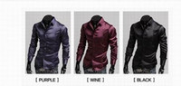 Men Silk Long Sleeve Hot Emulation Silk Shiny Leisure Men's long sleeve shirt 2479