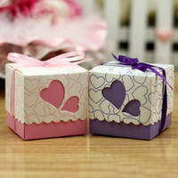 Wholesale Colors Sale of Hollow out Personality Creative Square Wedding Candies Gift Box