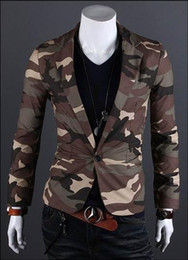 Wholesale Hot sale camouflage army wind men One Button Blazer Suit cotton silm small suit leisure Coat Jacket