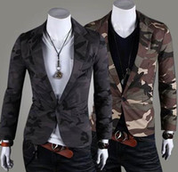 Wholesale Fashion camouflage army wind men One Button Blazer Suit cotton silm small suit leisure Coat Jacket