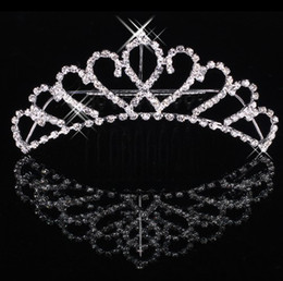 Wholesale Shining Beautiful Sweetheart Rhinestone Wedding Bridal Tiara Crown Clip Women Headpiece
