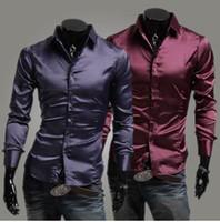 Casual Men Cotton Emulation Silk Shiny Leisure Men's long sleeve shirt