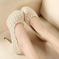 Women beige slingback heels - 2015 New Women Ivory High heeled shoes Bridal Lace Wedding Shoes Girl dance Party shoes women shoes