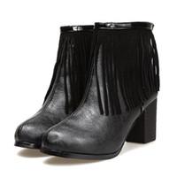 2013 fringe Women's Platform Pump Ankle cusp Boots coarse high-heeled