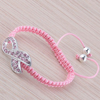 Wholesale Pink Rhinestone Crystal Ribbon Charms Breast Cancer Awareness Macrame Adjustable Bracelets Finding