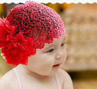 Wholesale Lace Large flowers Baby Girls Hairnet Hair bands Headdress