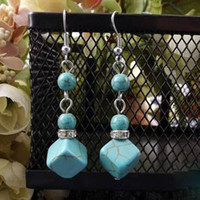 Charm Blue China-Tibet Tibetan Silver Square Turquoise charms Earring SALE women men Dangle and Chandelier cheap Gemstones Fashion Jewelry