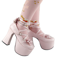 Wholesale 2015 High Heel Shoes Pink Queen Lolita Shoes Bow Punk shoes