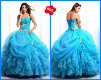 Wholesale Size available Gorgeous Sweetheart Ball gown Organza Applique Sweep Brush Quinceanera Dresses
