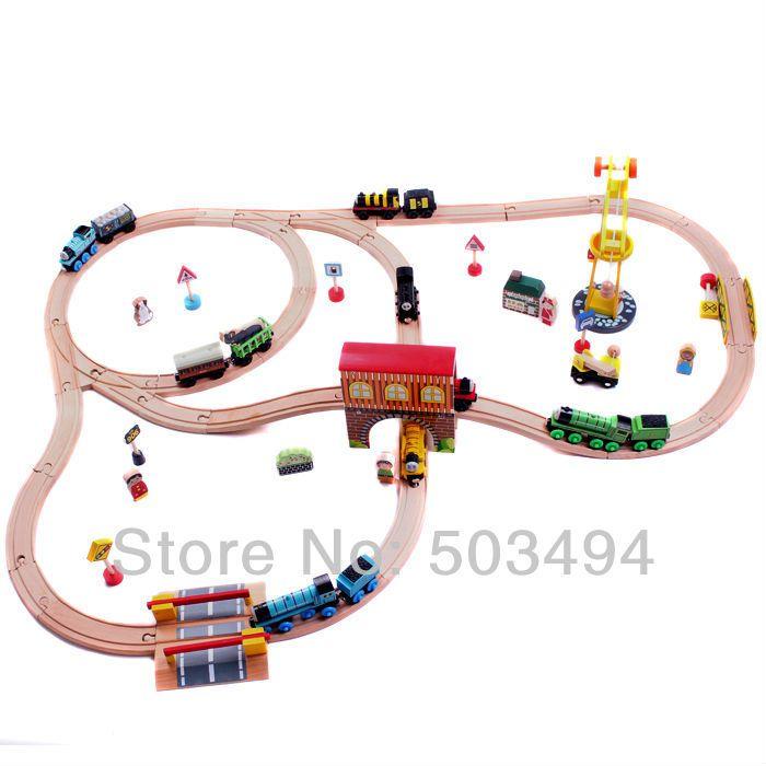 Wooden TRAIN Train tracks toy kid kids car toy track 1 set=32pcs Free ...
