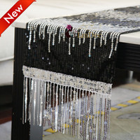 Wholesale Home Textile table runner with Tassels sequins Gorgeous Table Runners tablecloth Decorating Fabric