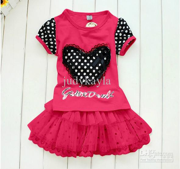 Buy Summer children clothing baby clothes kids dress suit love t shirt+lace tutu skirt girls set