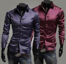 Wholesale New style men shirts men Emulation silk shiny leisure men s long sleeve shirt colours
