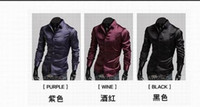 Casual Men Silk Cheaper Men shirts men Emulation silk shiny leisure men's long sleeve shirt 3 colours