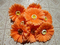 Wholesale New Arrivals p cm Orange Pink Silk Artificial Gerbera Daisy Flower heads for DIY Brooch Jewelry