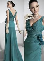 V-Neck aqua flowers - Custom Made Aqua V neck Draped Flower Chiffon Sheath Formal Evening Dress Mother Of The Bride Dress