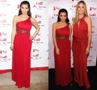 Reference Images Oscar Awards One-Shoulder Kim Kardashian Red Evening Dresses 2013 Sexy Chiffon One Shoulder Beaded Celebrity Dresses
