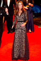 Wholesale 2013 Kate Middleton Lace Black Dresses Long Sleeve V Neck Floor Length Evening Celebrity Dresses