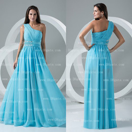 2015 A-line Floor Length Waist Beads One Shoulder Ruffle Chiffon Bridesmaid Dress Beach Wedding Event BD036