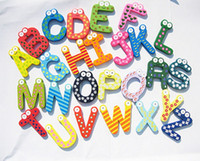 Wholesale Baby Puzzle Toys Children s Toys Wooden Alphabet Fridge Magnets One Set have
