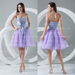 Wholesale Hot Sale Mini Fashion Bowknot Beading Lavender Lovely Organza Party Homecoming Dress HD035