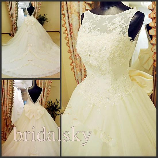 Bateau Backless Appliques Graceful Bow Beaded A Line Chapel Train ...