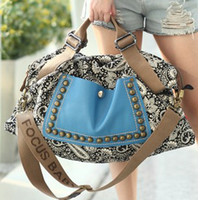 Wholesale New arrival hot sale fashion leisure national wind rivet shoulder canvas Messenger Retro female bag