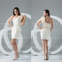 Wholesale Light Yellow Colour One Flower Shoulder Stretch Satin Homecoming Dress HD038