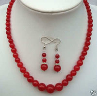 Wholesale Exquisite Red Ruby Gemstone Jewelry Necklace Earring Set quot