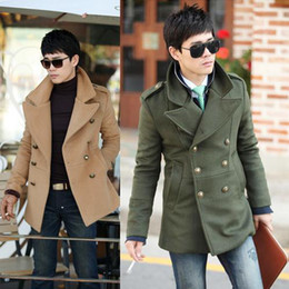 Wholesale Hot Korean Men trench coats Slim Double breasted Men Coat