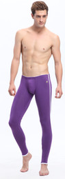 Wholesale New Men s Long Johns Cotton Bottoms Low Raise Keep Warm Legging Cotton Trousers Purple S M L p