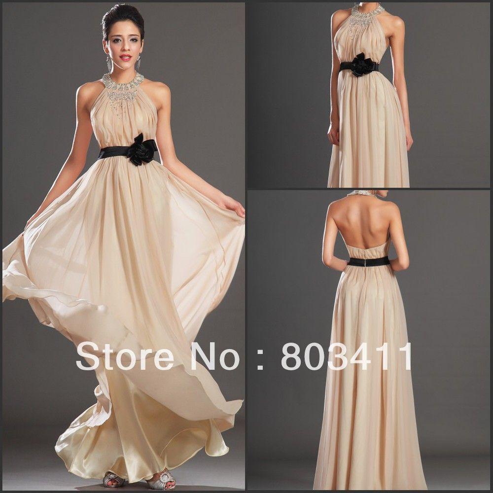 New Elegant Halter Straight Gown Floor Length Beaded Chiffon ...