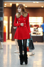 Wholesale Womens Coat Red Overcoat with Artificial Fur Double Breasted Coat Girls Woolen Winter Coat Hot Sale