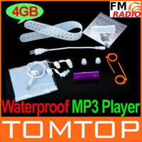 Wholesale 4GB MP3 Player Swimming Diving Water IP Waterproof MP3 Music Player FM Radio Earphone Free Shippin