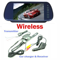 "Car Camera   7"" Car LCD Monitor Mirror Wireless IR Reverse Car Rear View Backup Camera Kit"