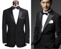 Wholesale Classic Black Suit Groom Tuxedos Men s Suits Groomsman Formal Bridegroom for Wedding Party