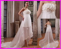 Wholesale Empire Flowers Beach Maternity Wedding Dresses Gowns Pearls For Pregnant Women W1341