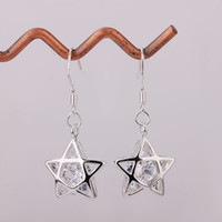 Silver Women's Drop Earrings HOT Free shipping Gift Plated 925 sterling silver earring Dangle star crystal earrings Wholesale