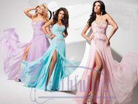 Cheap Pink Sweetheart Peacock Chiffon Prom Dresses Side Split Beading Rhinestone Bodice Full Gown TBE11356