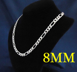 Mix Size 925 Silver 8mm Flat Men's Figaro Chain Necklace 18inch-28inch 50pcs via DHL Free Shipping