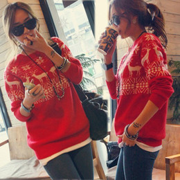Wholesale Womens Merry Xmas Snow Deer Boat Neck Long Sleeve Knitwear Sweater Jumpers