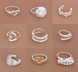 New Fashion 925 Silver Rings Mix Styles Popuar Silver Rings 9 Styles Mixed 20pcs Hot Size 7,8,9