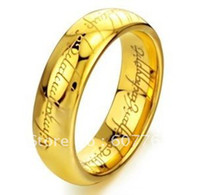 Wholesale Min Order Fashion mm Men s Tungsten Carbide K Gold Plated The Lord of The Ring SZ