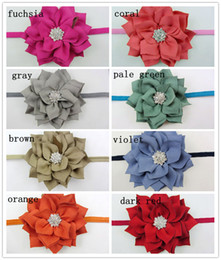 Winter Fabric Flowers Headband Matching Sparking Button Thin Elastic Headbands Newborn Photography Props 120PCS LOT QueenBaby