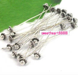 Wholesale 226pcs Tibetan Silver Color D flowers Hat Head Pins Findings x50mm Jewelry DIY