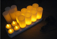 Christmas amber candles - 12pcs set amber Rechargeable Candle Lamp LED night Lights Realistic Tea Candles for party bar